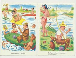 Lot De 2 Cartes Humour - Fantaisie - La Pêche - Pêcheur - Illustrateur HAROT - Autres Illustrateurs