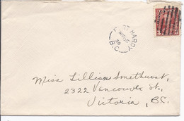 16510) Canada Cover Brief Lettre 1936 BC British Columbia Post Office Postmark Cancel Port Hardy - Cartas