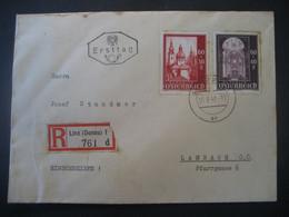 Österreich 1948- FDC Reco Tagesstempel  Auf Wiederaufbau Salzburger Dom MiNr. 689 + 690 - FDC