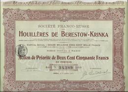 SOCIETE FRANCO-RUSSE HOUILLERES DE BERESTOW - KRINKA- ACTION DE PRIORITE 250 FRS - ANNEE 1910 - Mineral