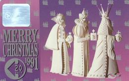 Mann Isle, Merry Christmas 1991, The Three Magi  3800ex - Isla De Man