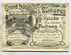 86 POITIERS Tres Rare Carte GRand HOTEL De L'EUROPE Avec Carte PLan De La Ville    Fin 19em    /D01-S2018 - Poitiers