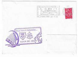 44 JDA -PORTE-HÉLICOPTÈRES JEANNE D'ARC - GLG - GEAOM 2005-2006 -ESCALE DE VALPARAISO - CHILI (ACCORDÉON) - Naval Post