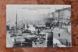 ROUEN (76) 27 JANVIER 1910 - LA CRUE DE LA SEINE - LE QUAI DE PARIS - Rouen