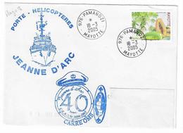 46 JDA -PORTE-HÉLICOPTÈRES JEANNE D'ARC - GEAOM 2004-2005 -ESCALE DE MAYOTTE  - Cachet CARRÉ OMS - TP MAYOTTE - Naval Post