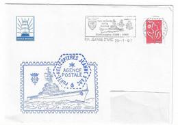 50 JDA -PORTE-HÉLICOPTÈRES JEANNE D'ARC - GEAOM 2006-2007 - Cachet AGENCE POSTALE JDA - Naval Post