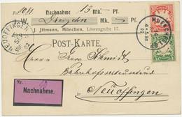 """BAYERN 1902 Wappen 5 U 10Pf MiF Nachnahme-Postkarte K1 """"NEUOFFINGEN"""" Von MÜNCHEN - Bayern (Baviera)"""