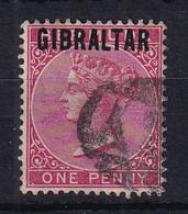 Gibraltar: 1886   QV 'Gibraltar' OVPT     SG2    1d     Used - Gibraltar