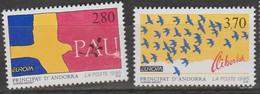 Andorre Français Europa 1995 N° 457 Et 458 ** Paix Et Liberté - 1995