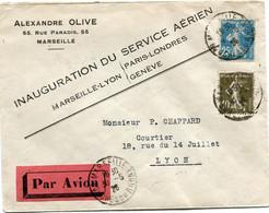 FRANCE LETTRE PAR AVION AVEC CACHET INAUGURATION DU SERVICE AERIEN MARSEILLE-LYON / PARIS-LONDRES - GENEVE - 1906-38 Sower - Cameo