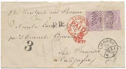 Italy 1868 Livorno To America California Via London New York And Panama Arrival San Francisco 1e.3 - Poststempel