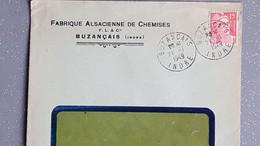 Thème Gandon 15 F  C Sur Enveloppe Illustrée Entête Ets Fabrique Alsacienne De Chemise Buzançais Indre 1949 - 1921-1960: Moderne