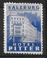 Autriche   Vignette Hôtel PITTER Salzbourg Neuf ( * )     B / TB       Voir Scans      Soldé    ! ! ! - Errores & Curiosidades