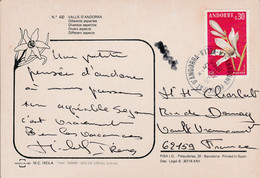 ANDORRE SEUL SUR CARTE POUR LA FRANCE 1985 - Cartas