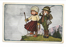 CARD BERTIGLIA SPORT ALPINISMO COPPIA SCARPONI CANNOCCHIALE BASTONE  -FP-V BOLLO ASPORTATO-2-0882-29855 - Bertiglia, A.