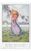 """CARD BERTIGLIA """"MIMI BLUETTE FIORE DEL MIO GIARDINO""""BIMBA TIMIDA IN SOTTOVESTE SPALLINA CADENTE  -FP-N-2-0882-29856 - Bertiglia, A."""