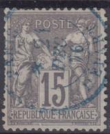 FRANCE : SAGE N° 77 RARE OBLITERATION CACHET A DATE BLEU PARIS DEPART - 1876-1898 Sage (Type II)