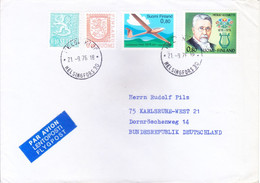 FINLAND : COMMERCIAL AIRMAIL COVER : YEAR 1976 : POSTED FROM HELSINKI, HELSINGFORS FOR GERMANY : USE OF 4v POSTAGE STAMP - Cartas