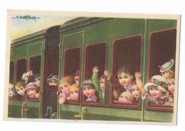 CARD BERTIGLIA  BIMBI AFFACCIATI FINESTRINI TRENO SALUTANO IN PARTENZA PER LA COLONIA-FP-N-2- 0882-29860 - Bertiglia, A.