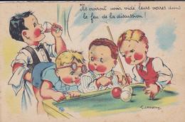 Cpa - Sport  - Billard Francais - Illustrateur Gougeon French Billiards - Andere