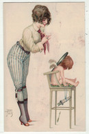 Illustrateurs Signés //  Jean Jam // Femme Avec Enfant - Other Illustrators