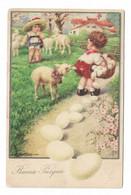 CARD BERTIGLIA BUONA PASQUA BIMBO GUARDA PASTORELLA PERDE UOVA DAL CESTINO PECORELLA STRAPPA PANTALONI-FP-V-2-0882-29863 - Bertiglia, A.