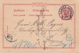 Deutsches Reich Kolonien DOA Postkarte P2B 1895 - Colony: German East Africa