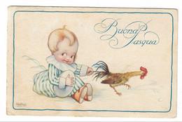 CARD BERTIGLIA BUONA PASQUA BIMBO CON  GROSSO UOVO STRAPPA PENNE AL GALLO-FP-V-2-0882-29864 - Bertiglia, A.