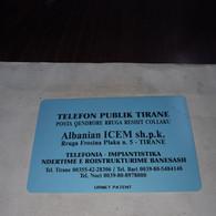 Albania-telefon Publik Tirane-(50impulse)-(31)-(mint Card)-tirage-?+1card Prepiad Free - Albanie
