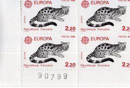 France.bloc De 4 Numéroté Du N° 2416 Genette N**. - Unused Stamps