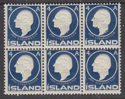 Iceland, Scott 88, MNH Block Of Six - Unused Stamps