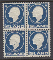 Iceland, Scott 88, MNH Block Of Four - Unused Stamps