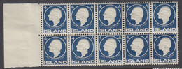 Iceland, Scott 88, MNH Block Of Ten - Unused Stamps