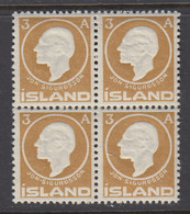Iceland, Scott 87, MNH Block Of Four - Unused Stamps