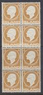 Iceland, Scott 87, MNH Block Of Eight - Unused Stamps