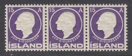 Iceland, Scott 90, MNH Strip Of Three - Unused Stamps