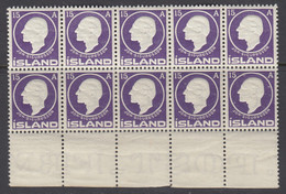 Iceland, Scott 90, MNH Block Of Ten - Unused Stamps