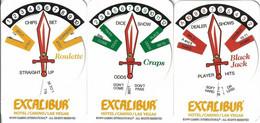 Set Of 3 Excalibur Casino WinCards (c) 1999 - Craps, Blackjack And Roulette - Casino Cards