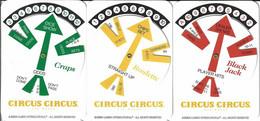 Set Of 3 Circus Circus Casino WinCards (c) 2004 - Craps, Blackjack And Roulette - Casino Cards
