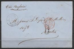 """L. Datée Càd GUYANE/16 DEC 1866/CAYENNE Pour NANTES - Càd """"COLONIES FRANC. V.ANGL./1866"""" - Man. """"Voie Anglaise"""" - Port 8 - Storia Postale"""