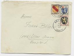 ZONE FRANCAISE BLASON 8FR+3FR+15FR LETTRE COVER BRIEF BELSEN 11 AUG 1947 TO ULM - Zona Francesa