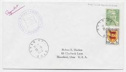 GANDON 5FR N°809 +  BLASON 1FR LETTRE ORAN RP 15.11.1955 POUR USA + NAVIRE A MOTEURS AMIENOIS + MENTION PAQUEBOT - 1945-54 Marianne De Gandon