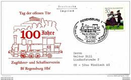 "202 - 10 - Enveloppe Allemande Avec Oblit Spéciale De Regensburg ""100 Jahre Zugführer 1982"" - Trenes"