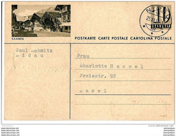"""22-89 - Entier Postal Avec Illustration """"Saanen"""" Cachet à Date Nidau 1953 - Entiers Postaux"""