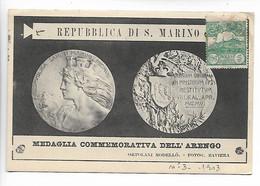 SAN MARINO Saint Marin Cpa Medaglia Commemorativa Dell'Arengo + Timbre 5 Cent 1903        ..G - Zonder Classificatie