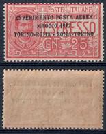 REGNO D'ITALIA - ESPRESSO C. 25 SOPRASTAMPATO ESPERIMENTO POSTA AEREA MAGGIO 1917 TORINO - ROMA - SASSONE PA1 - MNH ** - Airmail