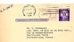 C 9  1961  Entier Américain Pour Hopital De La Maison Blanche à Neuilly - Cartas