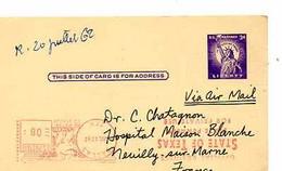 C 9  1962  Entier Américain Pour Hopital De La Maison Blanche à Neuilly - Cartas