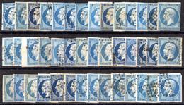 FRANCE ( LOT ) : Y&T  N°  14  LOT  DE  42  TIMBRES  OBLITERES , POUR  ETUDE . A  SAISIR . - Collections
