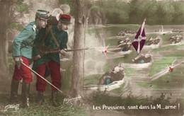 Militaria  Patriotique  Satirique Les Prussiens Sont Dans La M....arne ! .RV - Patrióticos